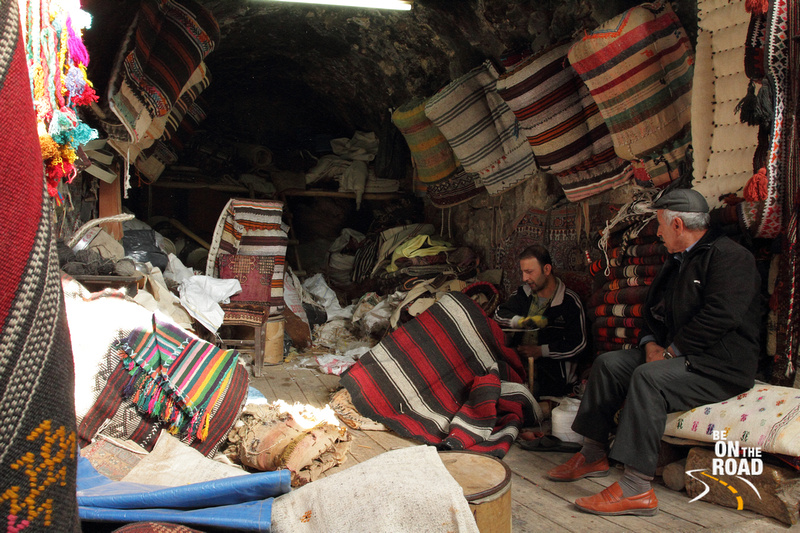 Rugs being stitched at Mardin Bazaar