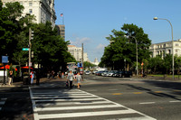 Street crossing in DC with the Capitol building in the background