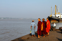 Monks waiting to catch the ferry to Twante, Burma