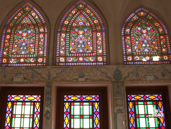 Colorful glasswork inside Abbasian House, Kashan, Iran