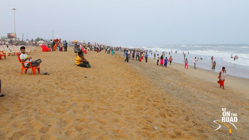 Extremely popular golden beach of Puri, Odisha