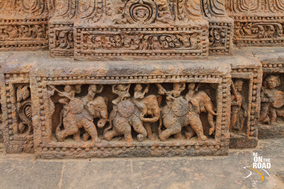 Scuptures depicting rich stories even at the floor level of the Konark Sun Temple