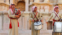 Scottish Pipes and Drums played by Jordanian citizens at Jerash, Jordan