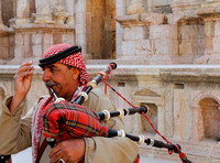 A Jordanian and his bagpipe at South Theatre, Jerash, Jordan