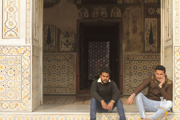 Local boys taking a break at beautiful Itmad-ud-Daulah Tomb, Agra