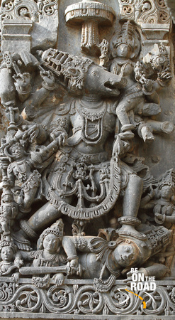 Varaha avatar sculpted on the walls of the Halebid temple of Hoysala kingdom, Karnataka