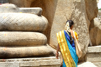 The coils of the Lepakshi Naga and the color tones of the South Indian Saree