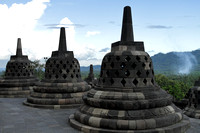 The many bell shaped stupas of Borobudur Temple, Java, Indonesia