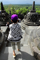 The batik sarongs that everyone has to wear while visiting Borobudur Temple