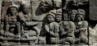 Carvings on the stones that make up Borobudur, Indonesia