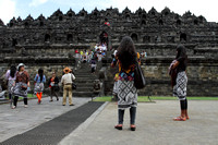 Batik Sarongs everywhere at Borobudur Temple, Indonesia