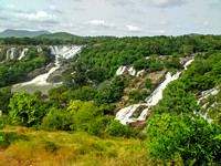 Lush green surroundings at Barachukki Falls, Karnataka