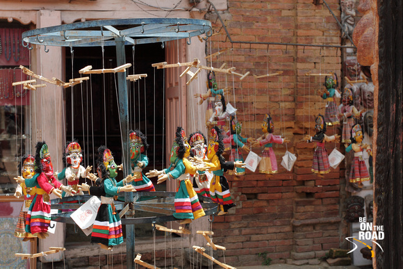Traditional souvenir puppets on sale at Bhaktapur, Nepal