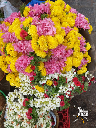 Coloful bundle of flowers in front of Chamundeshwari Temple, Mysore