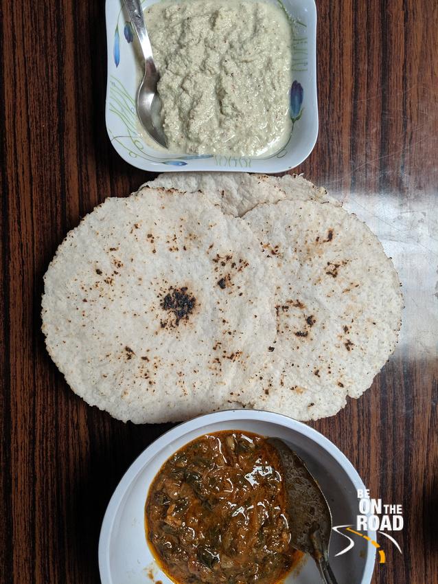 Akki Roti, Kessa with Kachampuli and Coconut Chutney