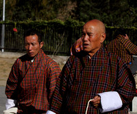 Bhutanese men offering their prayers at Memorial Choerten, Thimphu