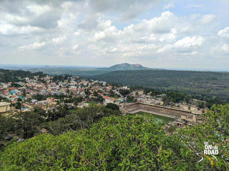 Lovely view of Melukote with the temple and the Kalyani