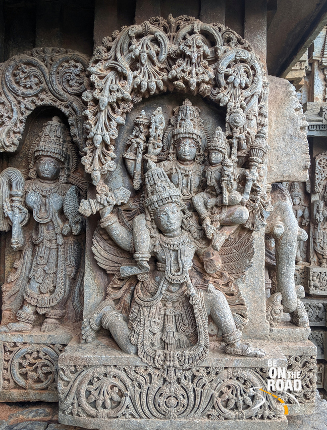 Garuda carrying Mahavishnu and Lakshmi Devi on his back - Hosaholalu temple