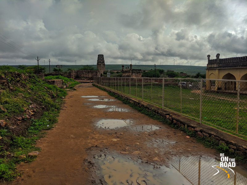 Temple, Mosque and dark clouds at Gandikota