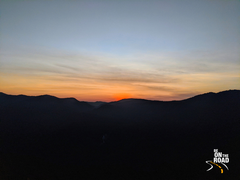 Sunset colours over the Sahyadri mountains of the Western Ghats in Uttara Kannada
