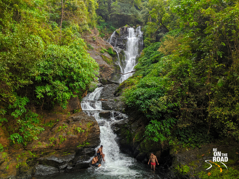 Enjoying a waterfall shower amidst pristine forests of the western ghats