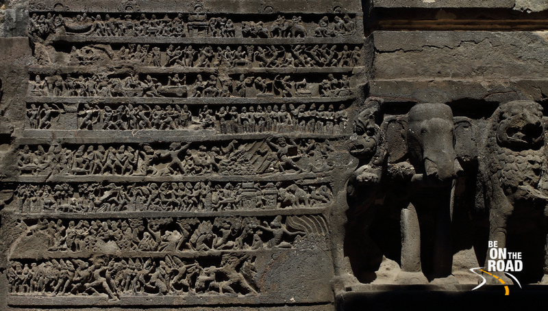 Intricate carvings on the lower deck walls of Kailasa temple, Ellora Caves