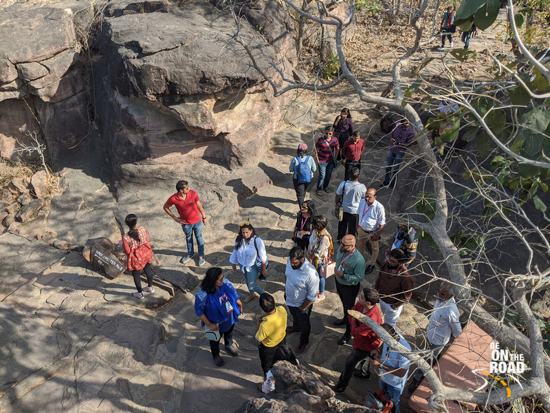 Listening to famous archaeologist Mr. KK Muhammed at Bhimbetka, Madhya Pradesh