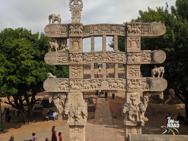 The intricately carved torana at Sanchi Stupa