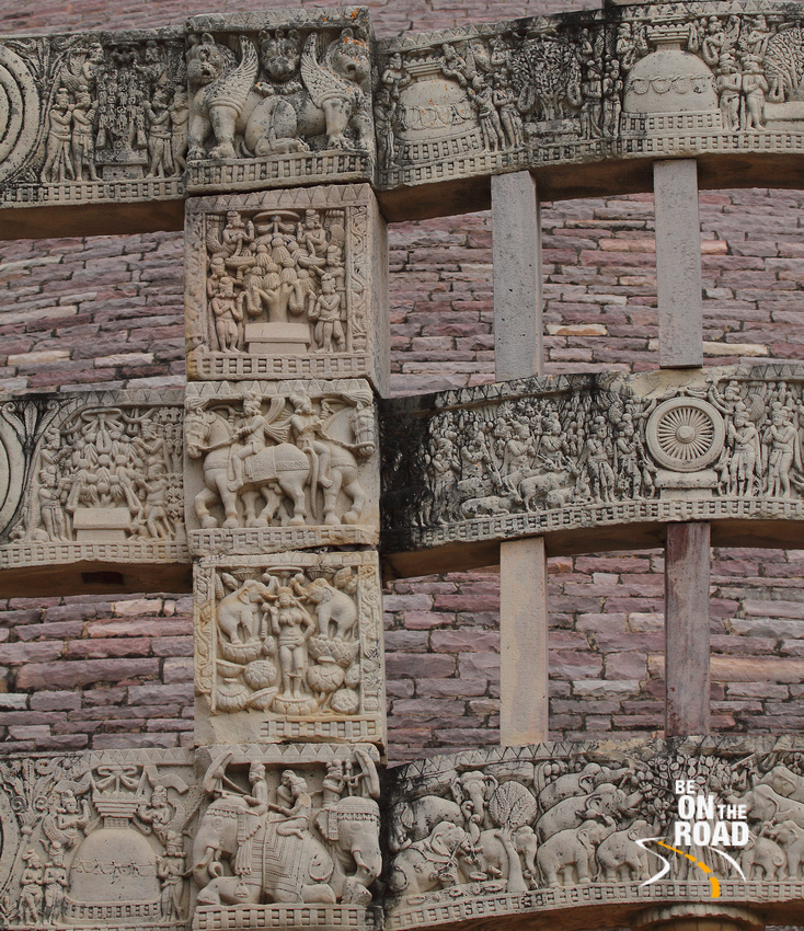 The myriad of Buddha stories and winged lions on the toranas of Sanchi Stupa