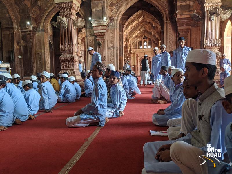 Students inside the Taj-ul=Masajid, Bhopal, Madhya Pradesh