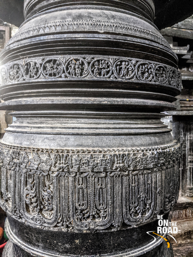 Intricate jewellery designs on the pillars of Brahmeshvara Temple, Kikkeri