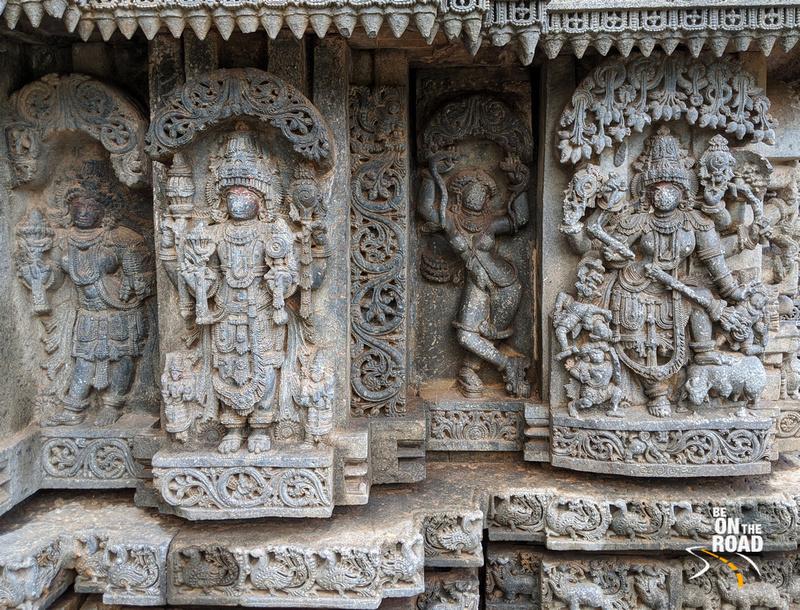 (R to L) - Mahisasuramardini, Mohini with cobra in her hands, Adhokshaja - Lakshmi Narasimha Temple, Nuggehalli