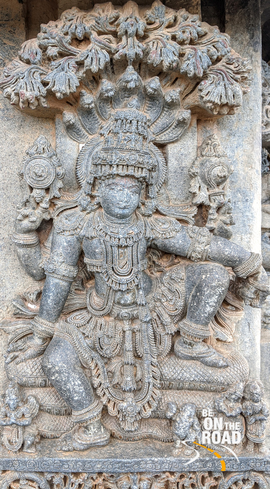 Amaranarayana seated on Anant Nag - Lakshmi Narasimha Temple, Nuggehalli