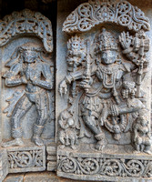 Durga dancing with a skeleton_a goblin standing to her left - Lakshmi Narasimha Temple, Nuggehalli