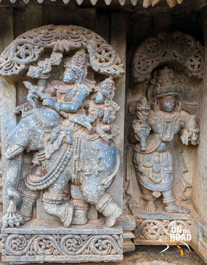 Indra and Sachi on the elephant in the Parijata battle - Lakshmi Narasimha Temple, Nuggehalli