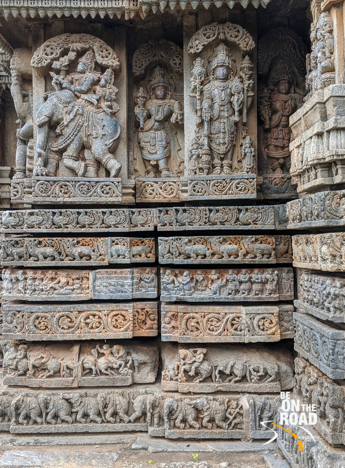 Indra on his airavat and other sculptures - Lakshmi Narasimha Temple, Nuggehalli