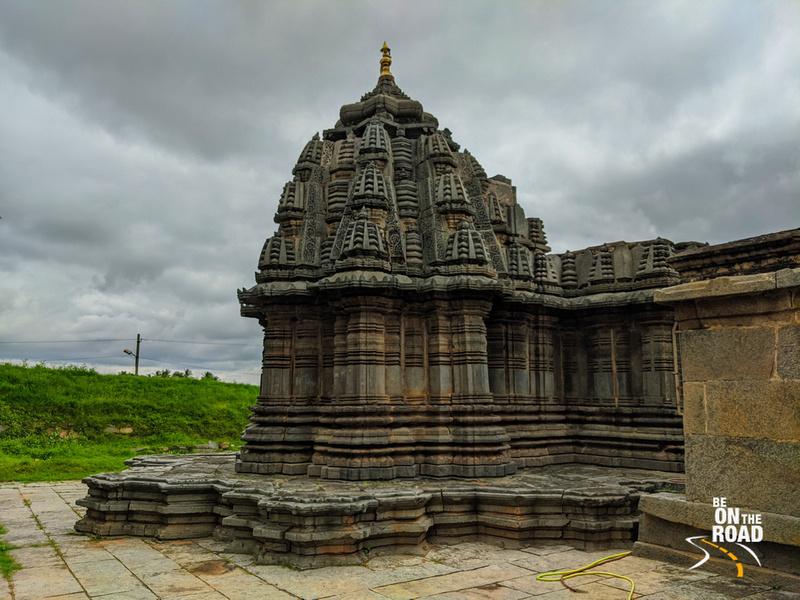 Sadashiva temple of Nuggehalli and dark monsoon clouds