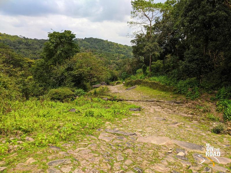 The ancient cobbled path leading to Kavaledurga Fort, Karnataka