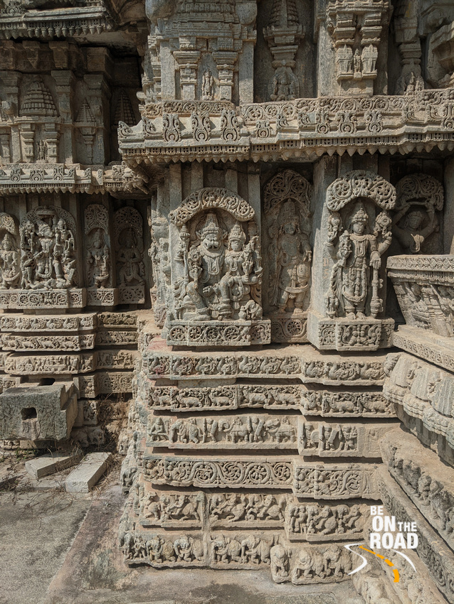 Lakshmi Narasimha and other carvings at 13th century Hoysala temple in Javagal, Karnataka