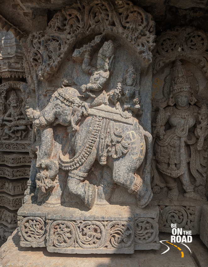 Indra and Shachi on Airavat at Lakshmi Narasimha Temple, Javagal