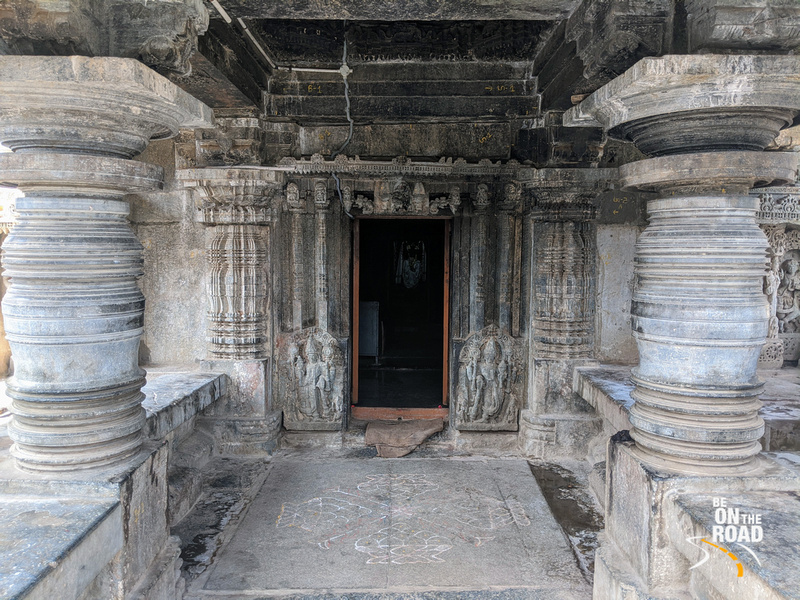 Entering the mukha mantapa of Lakshmi Narasimha Temple at Javagal