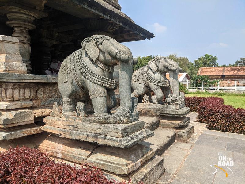 Gorgeous elephants at the entrance of Belavadi Veera Narayana Temple