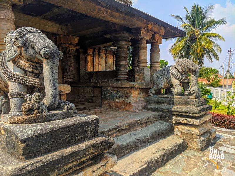 Elephants and lathe turned pillars greet you at the entrance to Veera Narayana Temple, Belavadi, Karnataka