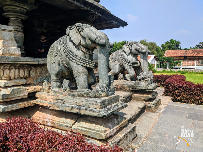 Stone elephants in front of Mukha mantapa of Veera Narayana Temple, Karnataka
