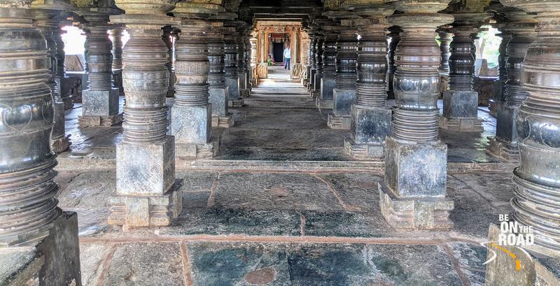 108 lathe turned pillars inside Veera Narayana Temple, Belavadi, Karnataka