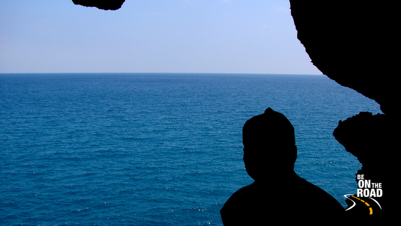 An ultimate view of Bay of Bengal from a large crevice in the Limestone Caves overlooking the ocean