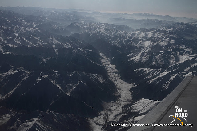 View of the Western Himalayas from the aircraft (Jammu to Leh)