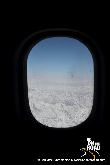 The Himalayan vista as seen from the aircraft flying from Jammu to Leh