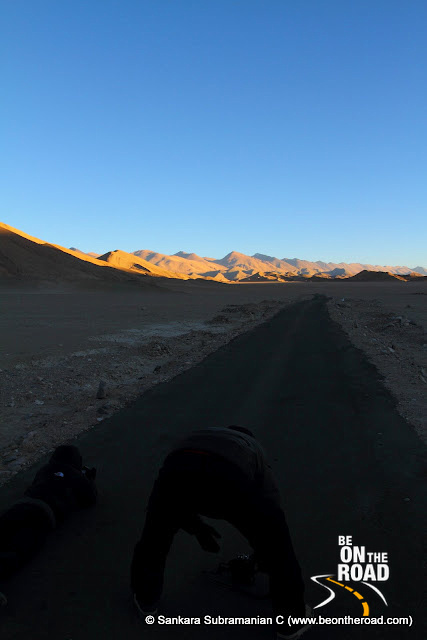 Photographing the sunset moments at Changthang Cold Desert