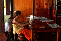 Young Buddhist Student studying at Wat Chong Klang, Mae Hong Son, Thailand